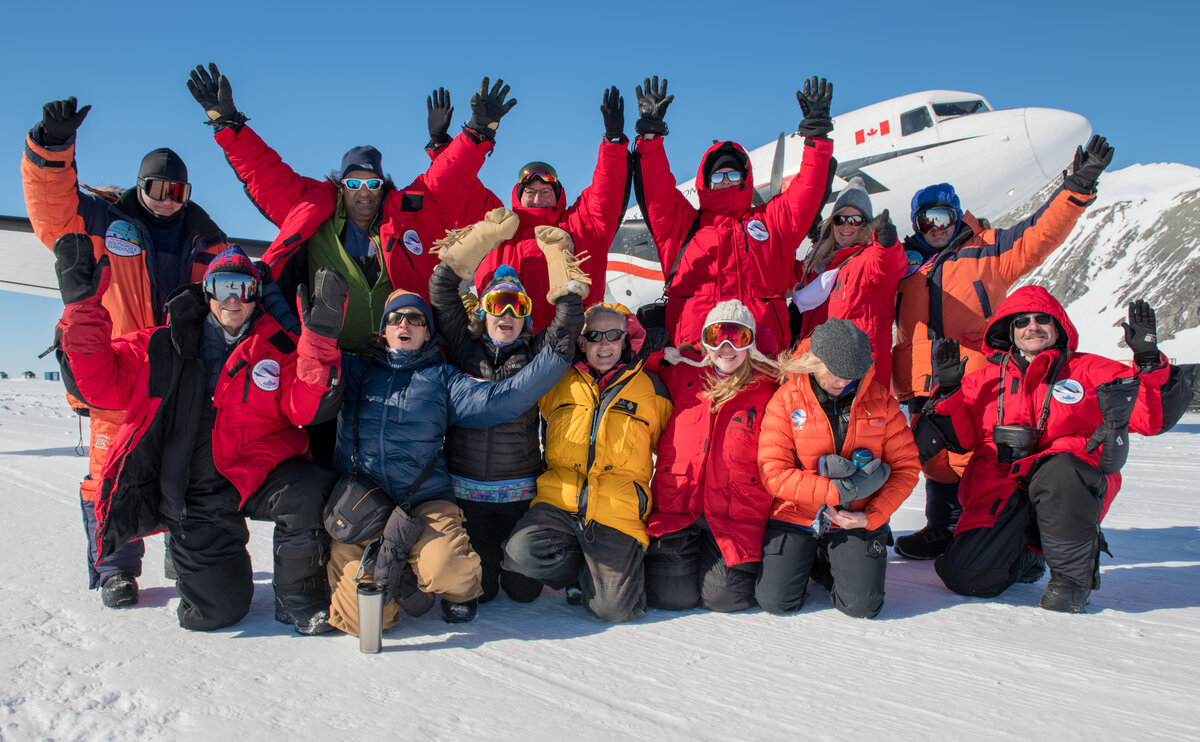 Guests celebrate as they prepare to depart Union Glacier Camp and fly to the South Pole