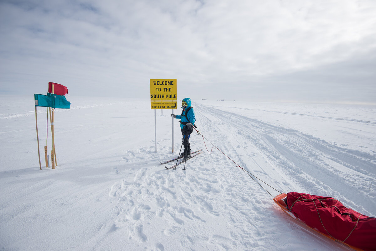 'Welcome to the South Pole' sign on approved approach route