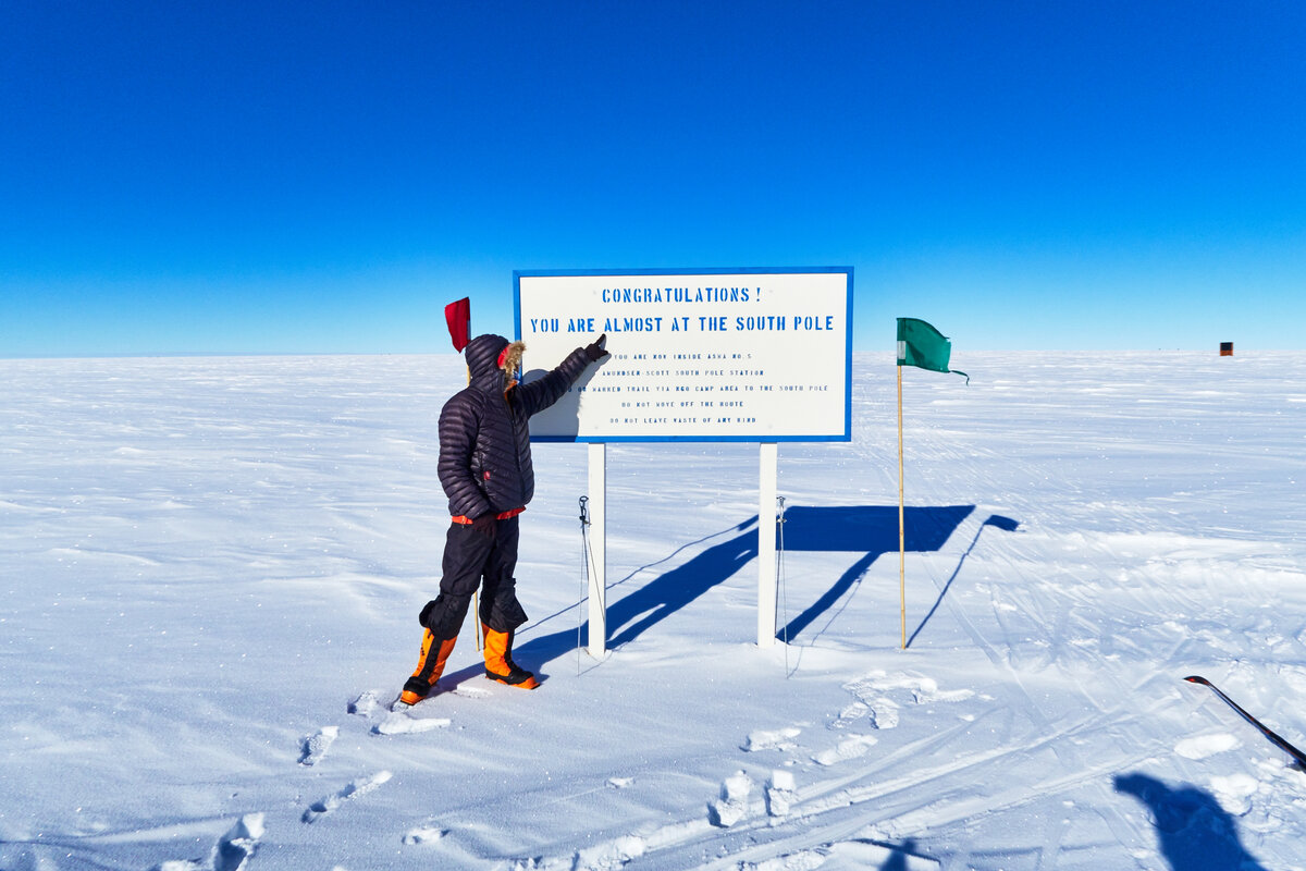 'Congratulations you are almost at the South Pole' sign