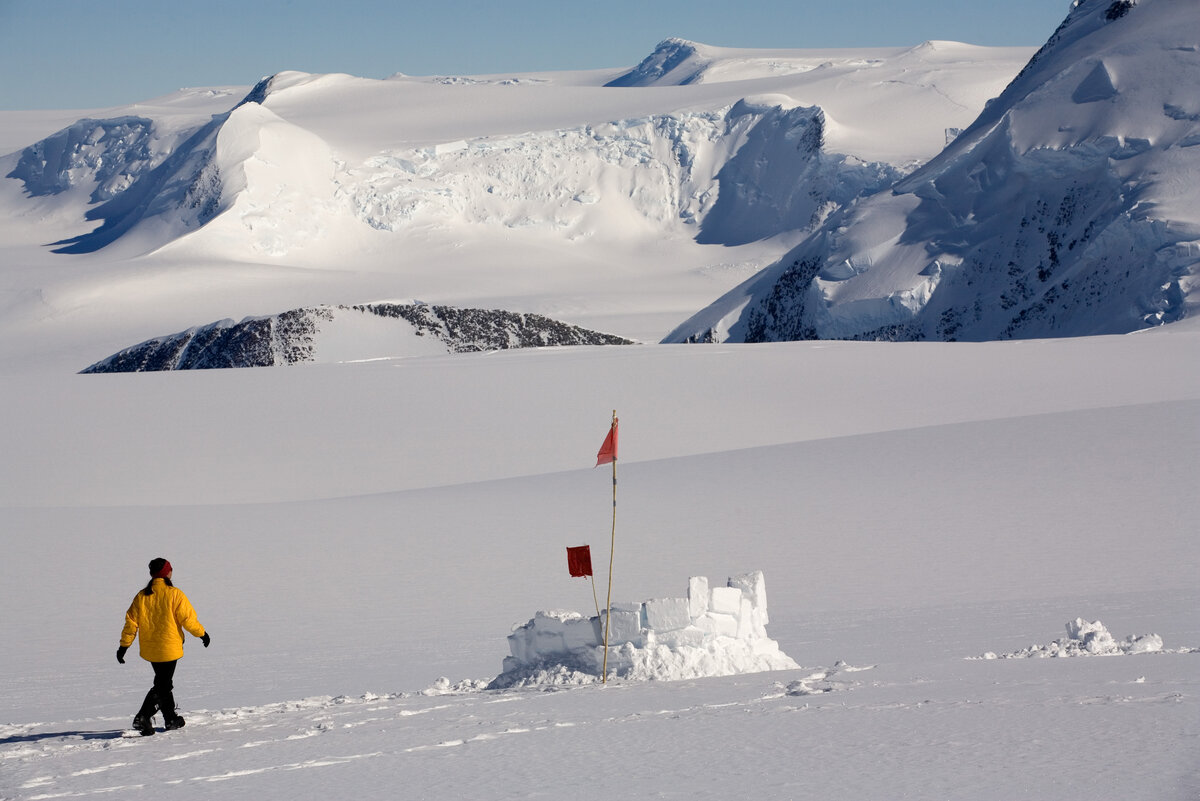 Walking to the 'loo with a view' at Vinson Base