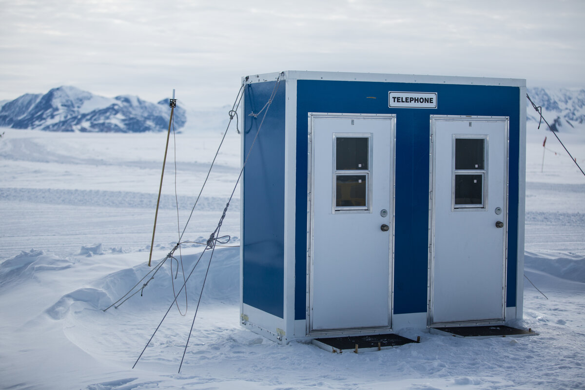 Telephone booth at Union Glacier Camp