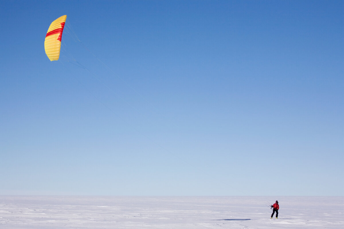 Kiting in the vast expanse of Antarctica