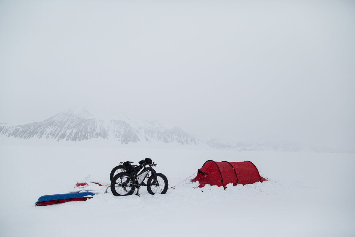 Bike field camp on Union Glacier, on an overcast day