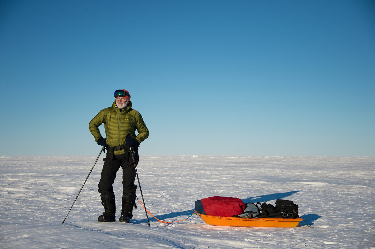 Guest with a sled full of camera equipment