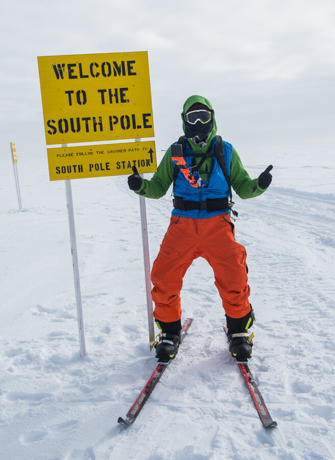 Thumbs for reaching 'Welcome to the South Pole' sign