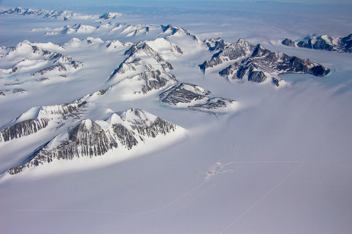 Aerial view of Union Glacier Camp, looking south