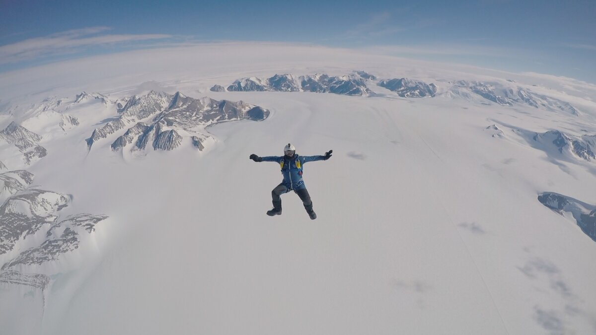 Surrounded by the white expanse of Antarctica