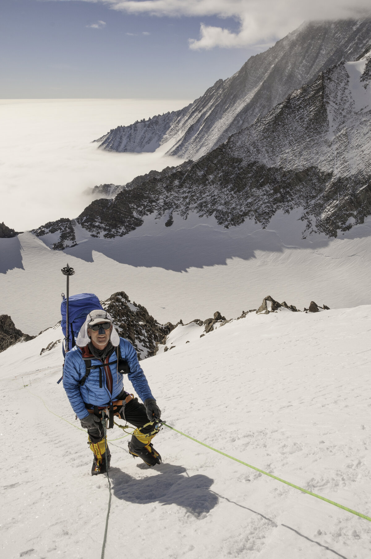 ALE guest ascends the fixed lines on Mount Vinson