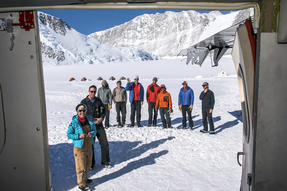 ALE staff greet climbers upon arrival to Vinson Base Camp
