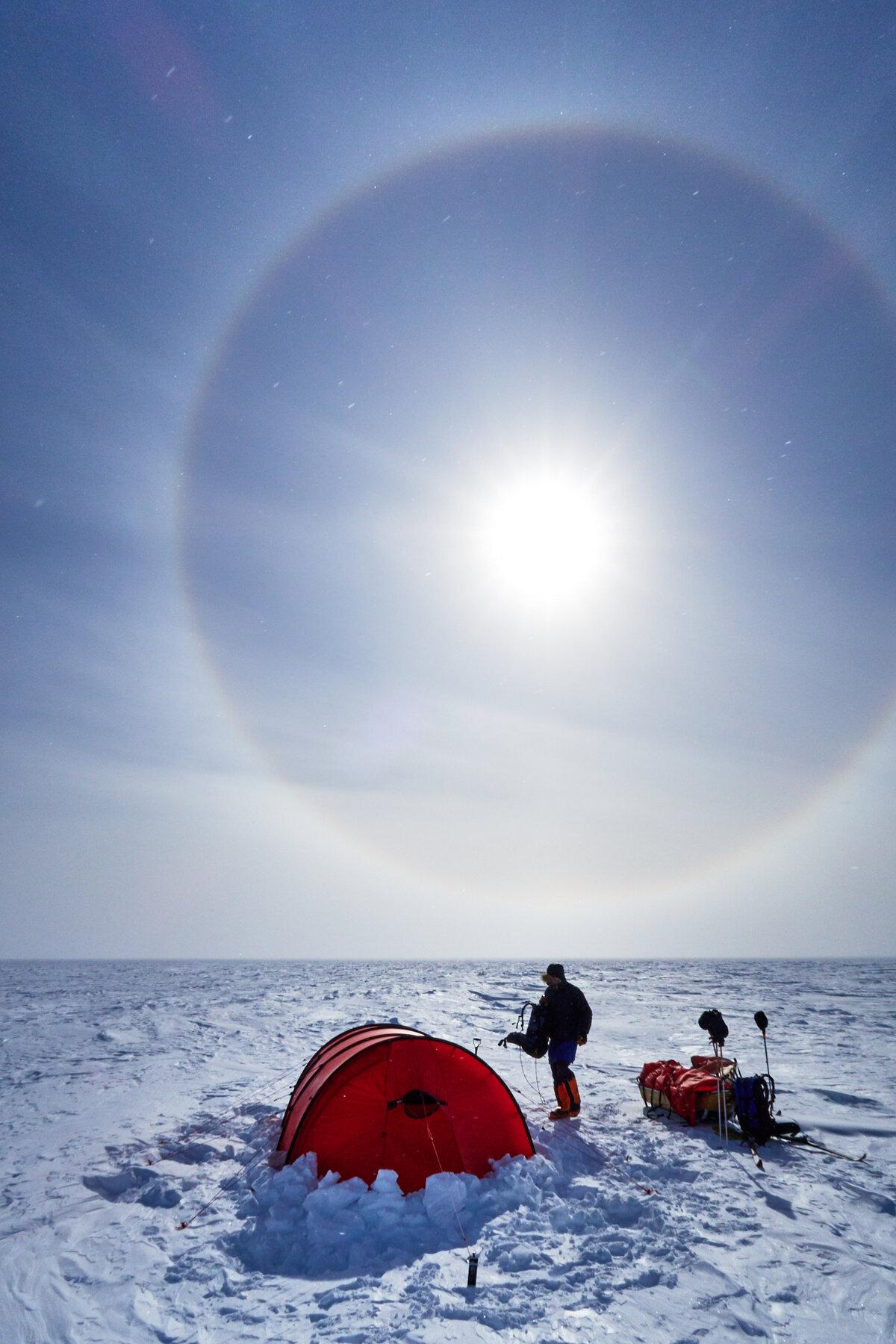 High cloud creates a halo around the sun