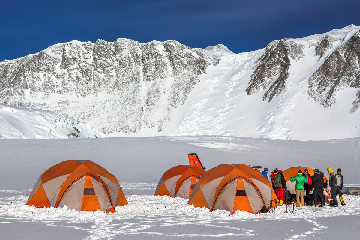 Guide company tent area at Vinson Base Camp
