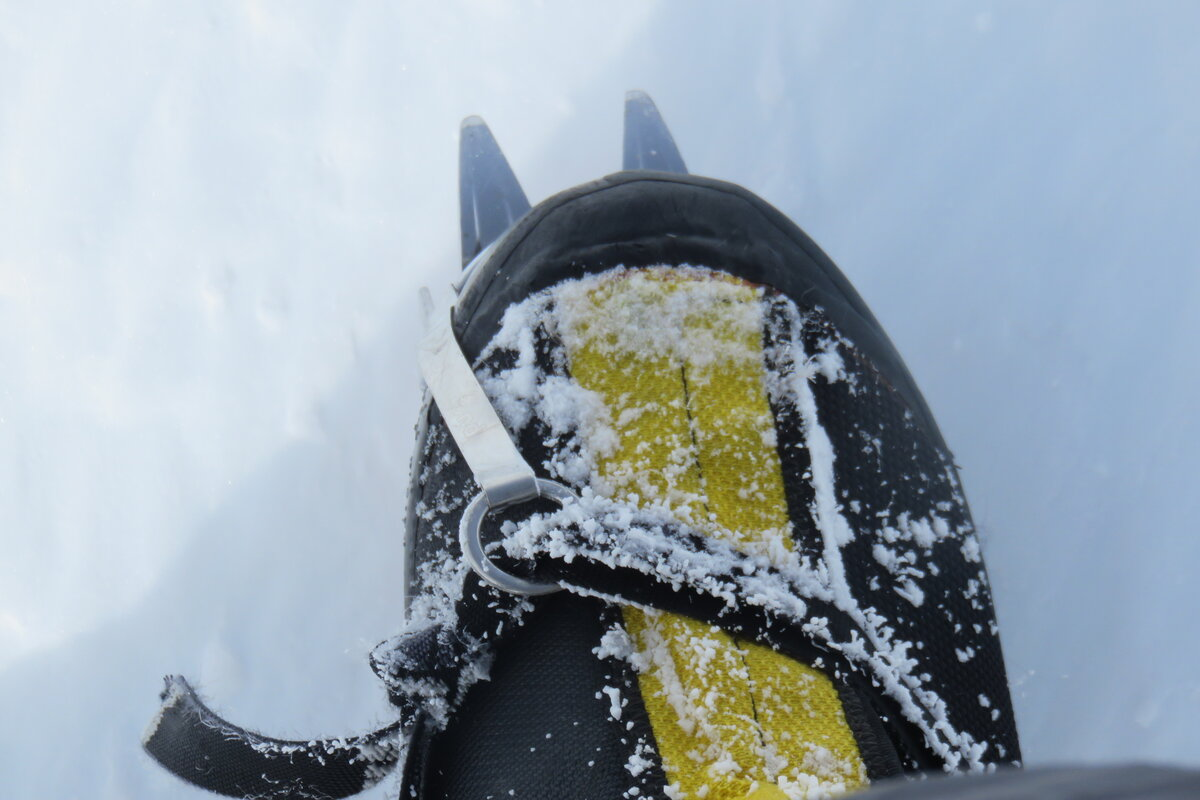 Frosty climbing boot and crampon on Mount Sidley