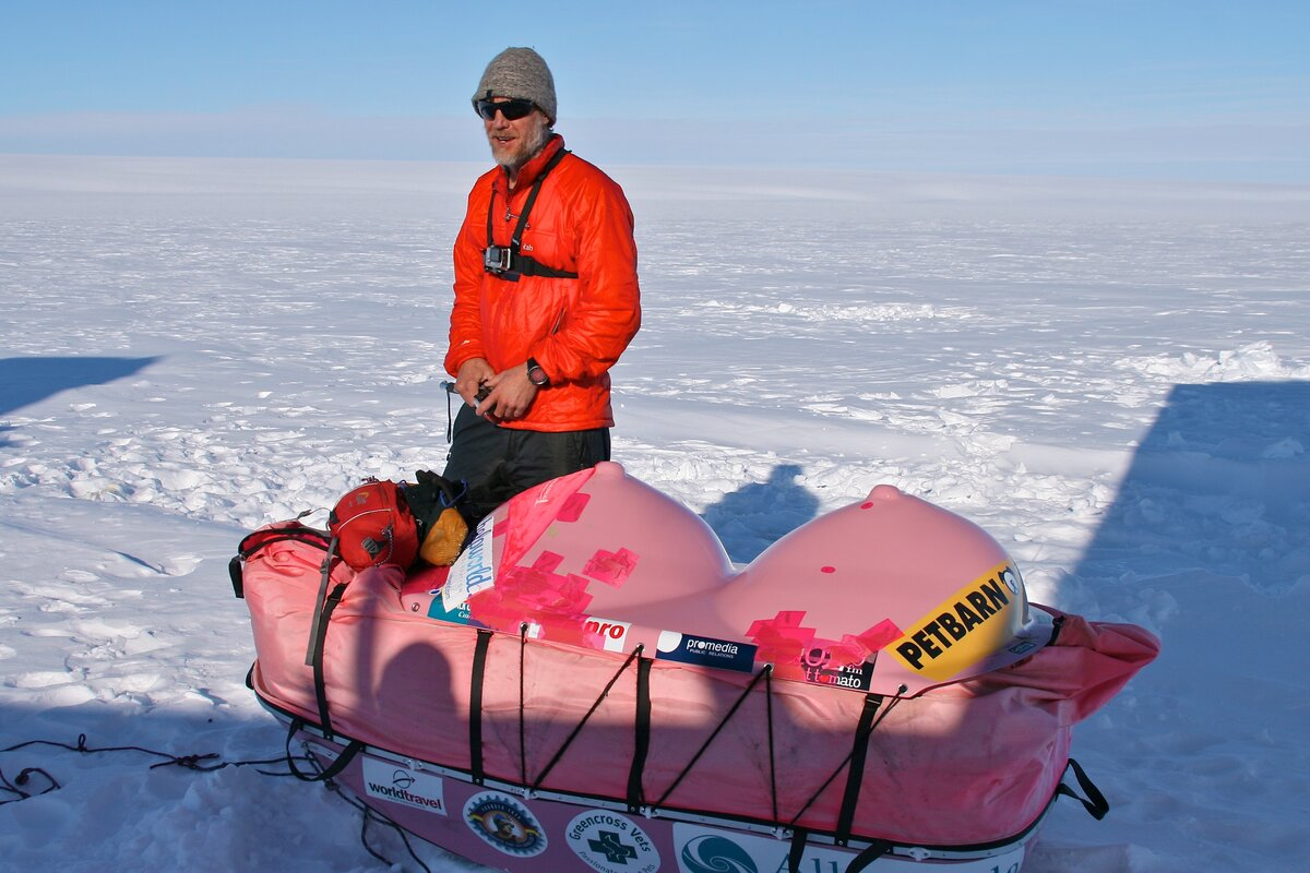 Geoff's 'boob sled' for the Pink Polar Antarctic traverse