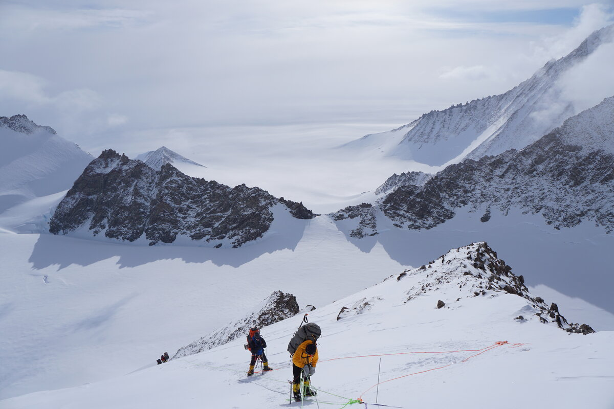 Ascending the fixed ropes on Mount Vinson