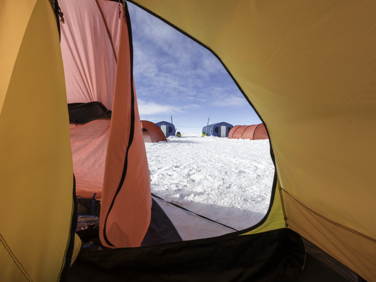'Morning' view from an expeditioner's tent