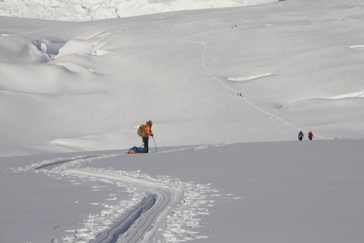 Sled hauling thru steep, crevassed terrain, below the Amundsen Icefall