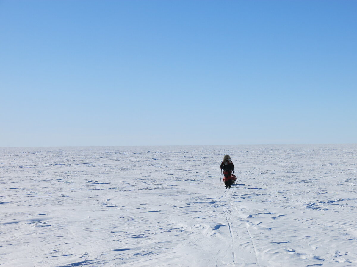 Skier on Hercules Inlet route across the featureless polar plateau