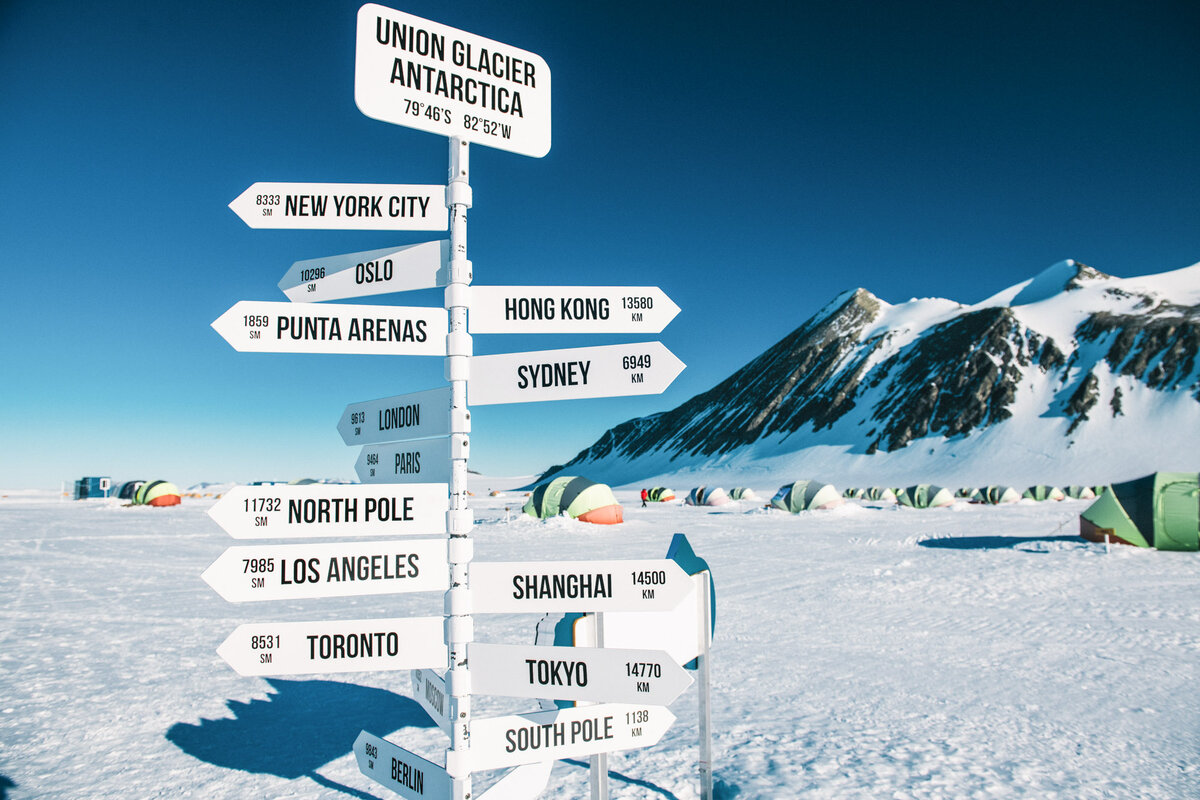 City signpost at Union Glacier Camp