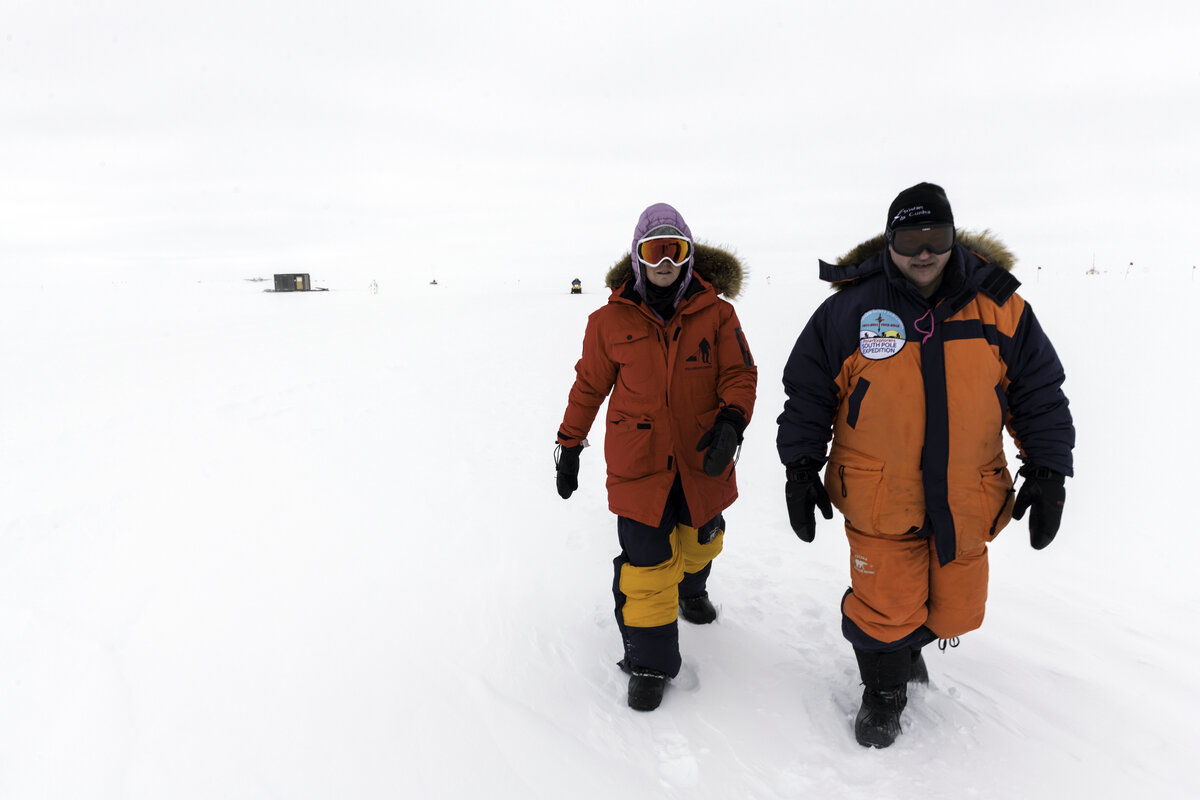 Guests visit the South Pole on a low contrast day