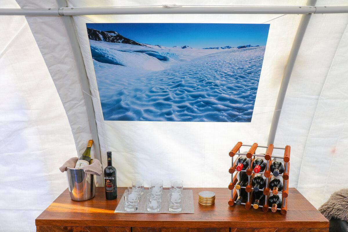 Bar in the main tent at Three Glaciers Retreat