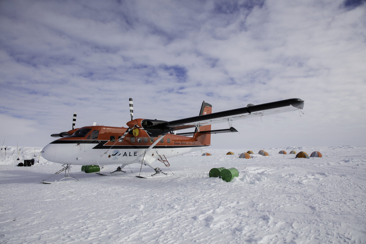 Twin Otter aircraft parked at ALE's Gould Bay Camp