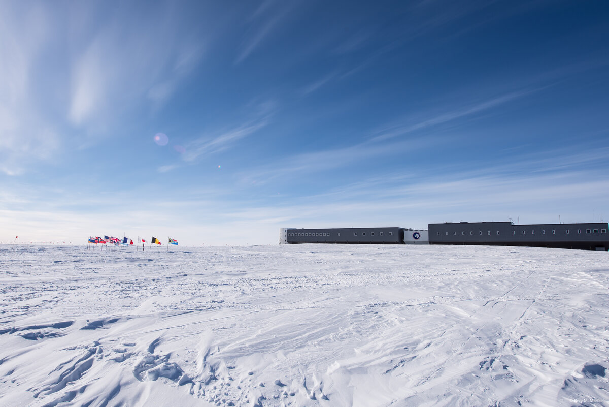 Ceremonial South Pole and Amundsen-Scott South Pole Station