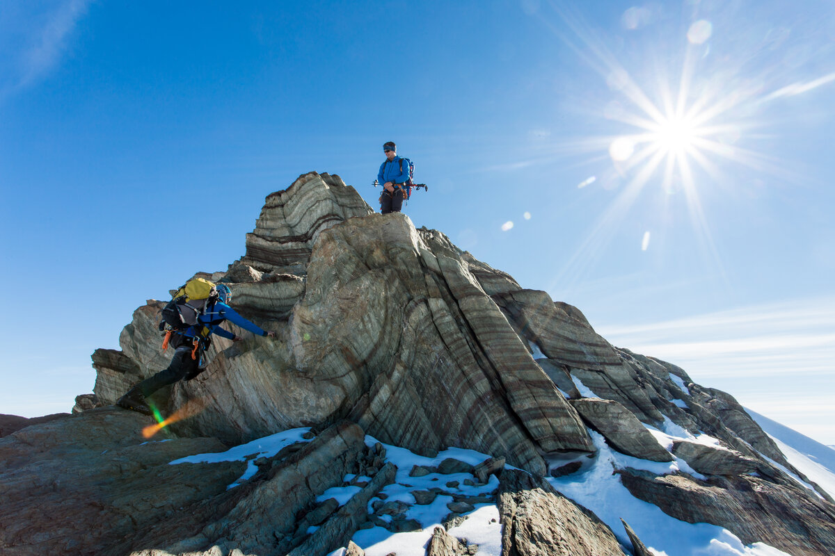Rock step near the summit of Mount Rossman