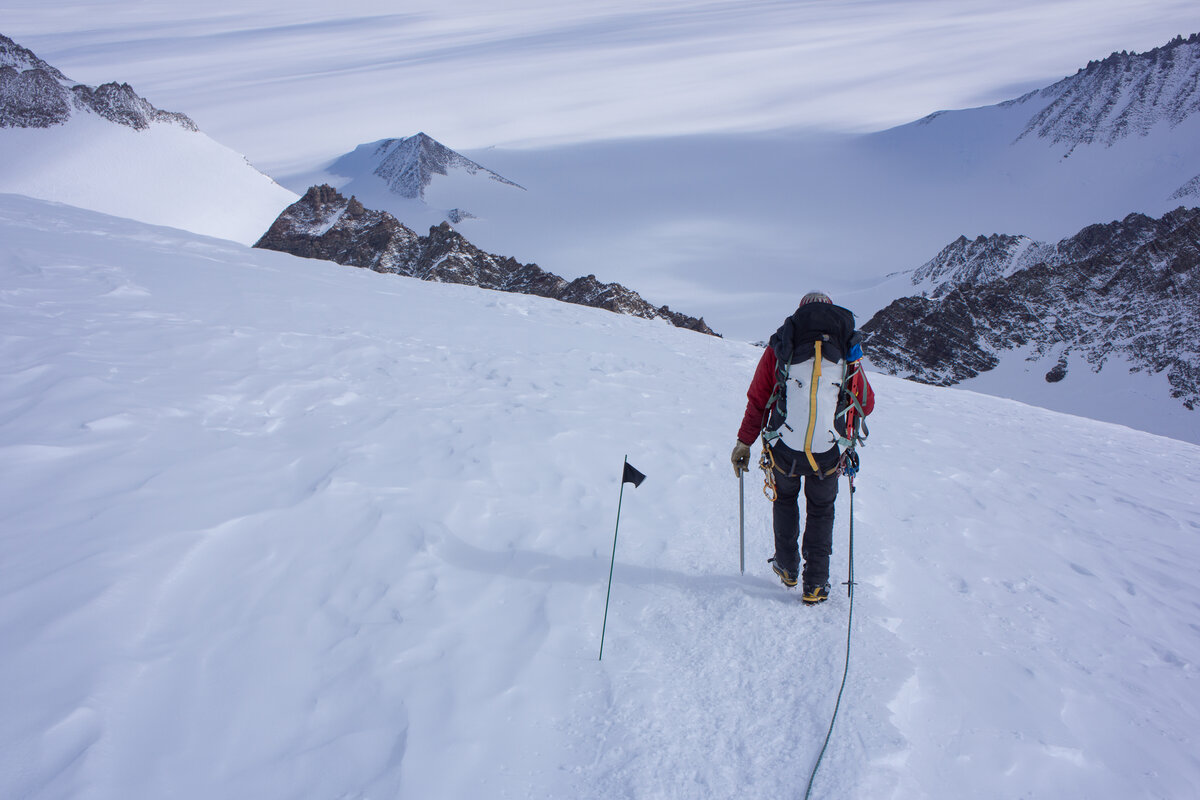 ALE guide leads the descent from Vinson high camp
