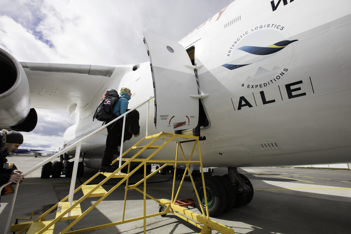 Passenger boards Ilyushin at Punta Arenas, Chile