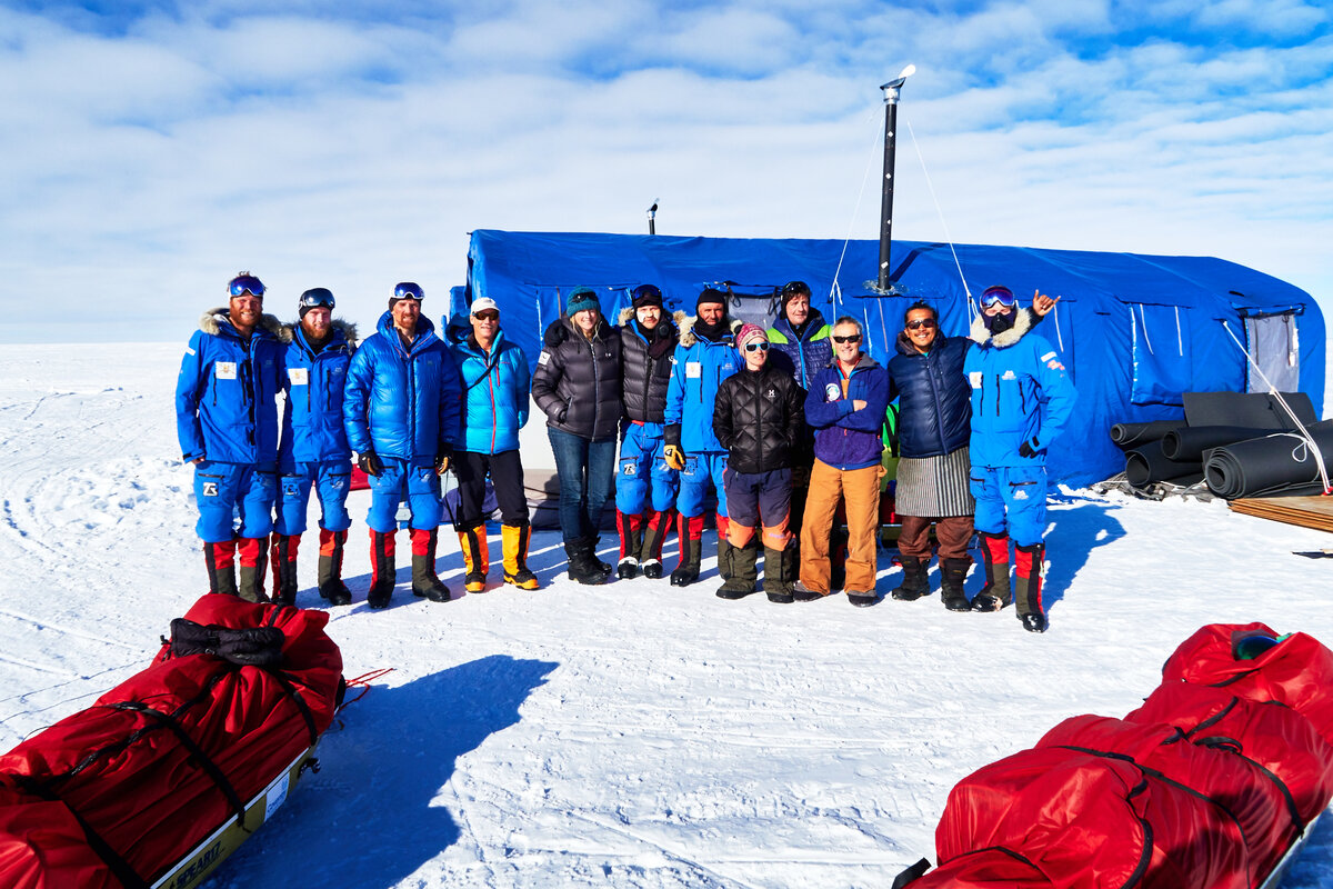 Expedition teams celebrate Christmas at ALE's South Pole Camp