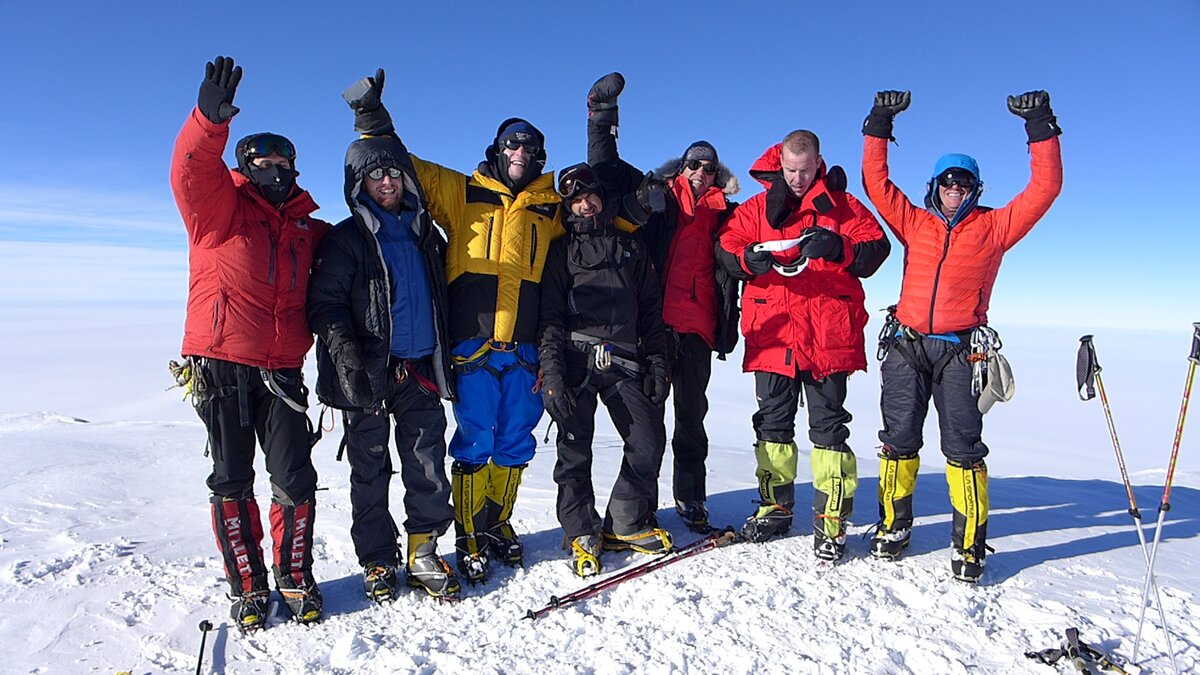 Climbing team on the summit of Mount Sidley