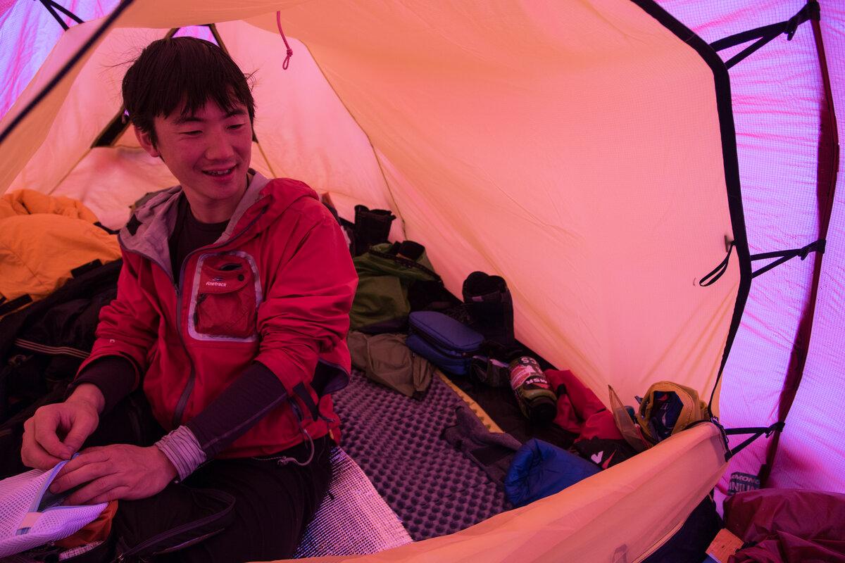 Last Degree guest inside a Hilleberg tent